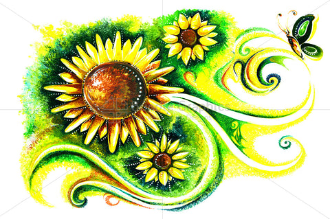 Flora Fauna - Abstract Painting of Sunflower