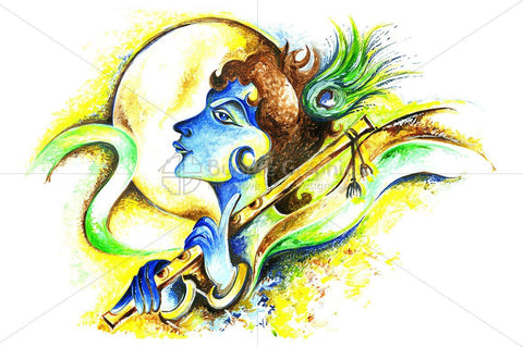 Abstract Painting of Lord Krishna