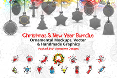 Christmas Bundle of Ornamental Mockups & Vector Graphics Pack of 240+ Awesome Designs