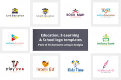 Education, E-Learning & School Logo Pack of 10 Awesome unique designs