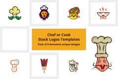 Chef Stock Logo Templates Pack of 8 Awesome unique designs