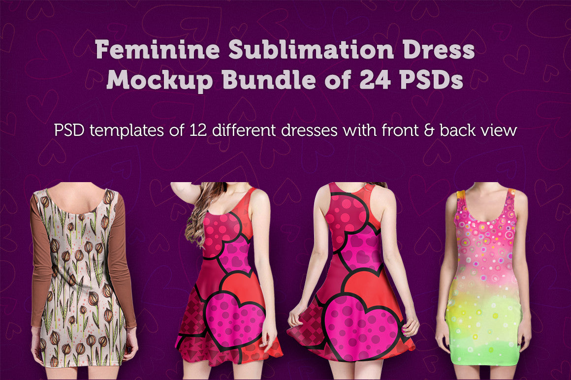 Feminine Sublimation Dress Mockup Bundle of 24 PSDs
