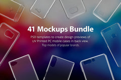 41 Mockups Bundle of UV Printed PC Cases for Phones