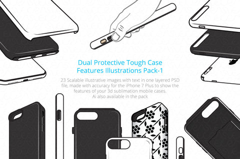 Dual Protective 3D Sublimation Tough Phone Case Feature Illustrations Pack-1
