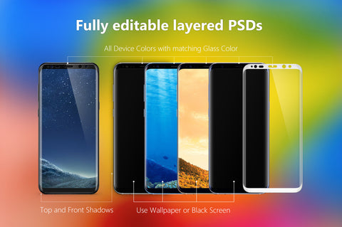 Tempered Glass Presentation Images for Mobile and Tablets in PSDs