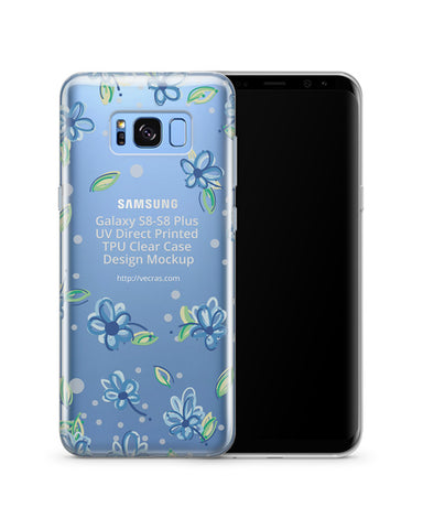 Samsung Galaxy S8-S8 Plus UV TPU Clear Mobile Case Design Mockup 2017