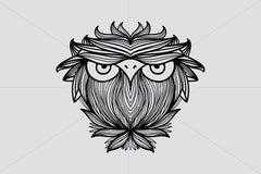 Owl - Freehand Creative Linear Graphic Artistic Composition