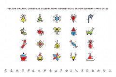 Royalty Free Vector Design Elements Pack- Christmas Celebration Decorative Icons