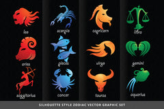 6 zodiac sets 204+ illustrations multiple style graphics