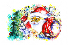 Royalty Free Handmade Abstract Painting of Santa Claus