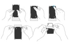 How to Apply Skin on Mobile Phone Device - Set of 36 Demonstrative Illustrations
