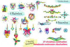 27 Christmas celebration handmade watercolor illustrations.