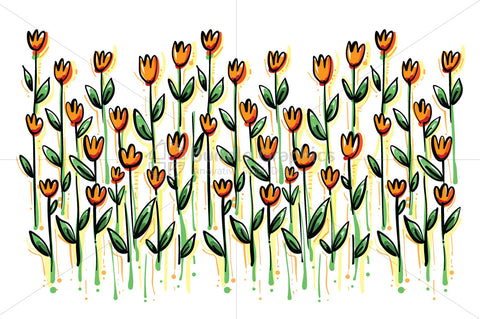 Saffron Colour Flowers Field - Freehand Organic Shape Floral Background