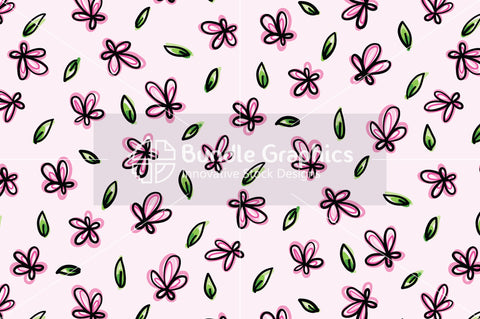 Pink Flowers - Organic Style  Freehand Graphic Background