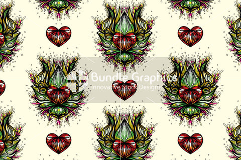 Lotus Heart - Freehand Symmetrical Design Background