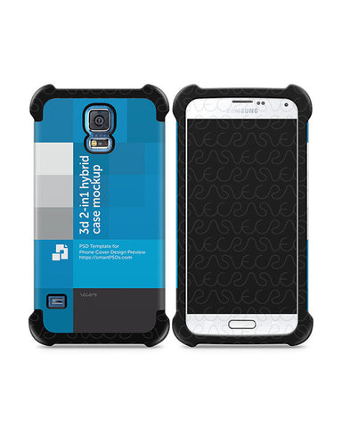 Samsung Galaxy S5 3d 2-in-1 Hybrid Mobile Case Design Mockup 2014