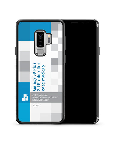 Samsung Galaxy S9 Plus 2d RubberFlex Case Design Mockup 2018
