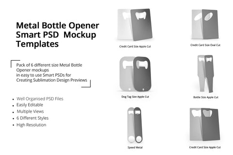 Metal Bottle Opener Design Mockups Pack