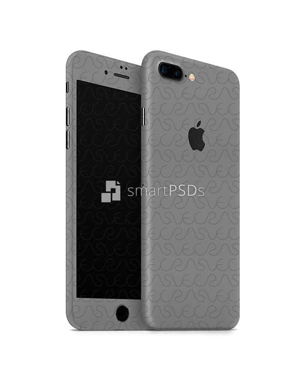 Apple iPhone 7 Plus Mobile Skin Design Template Front-Back Angled