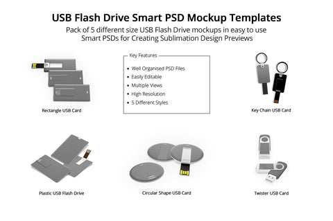 USB Flash Drive Design Mockups Pack