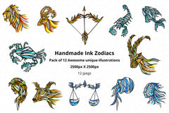 Handmade Ink Horoscope Zodiac Graphic Illustrations Set of 12