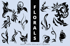 SVG Florals Cutfiles Bundle Pack of 270 vector graphic shapes