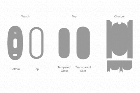 Xiaomi Mi Band 4 (2019) Skin Cutting Template