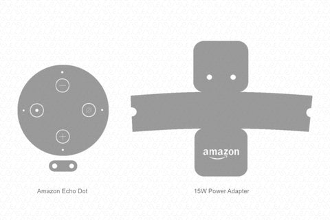 Amazon Echo Dot 3 (2018) & Power Adaptor Skin Vector Template