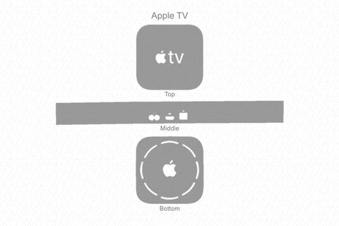 Apple TV & Remote 5th gen 2017 Skin Template Vector