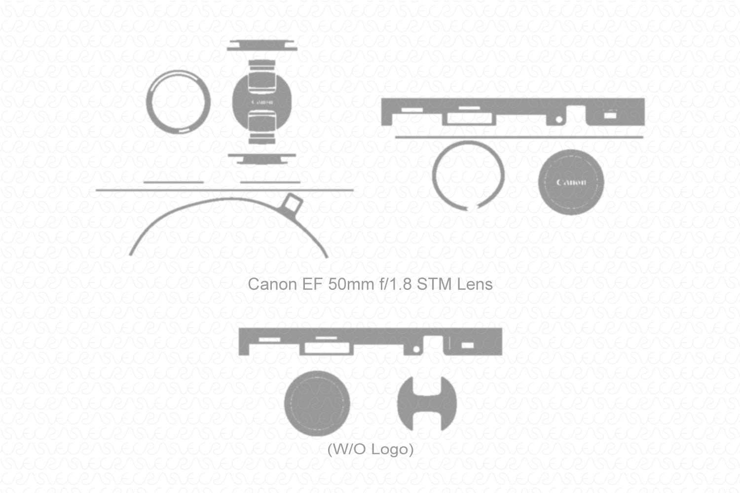 Canon EF 50mm f1.8 STM Lens (2015) Skin Vector Template