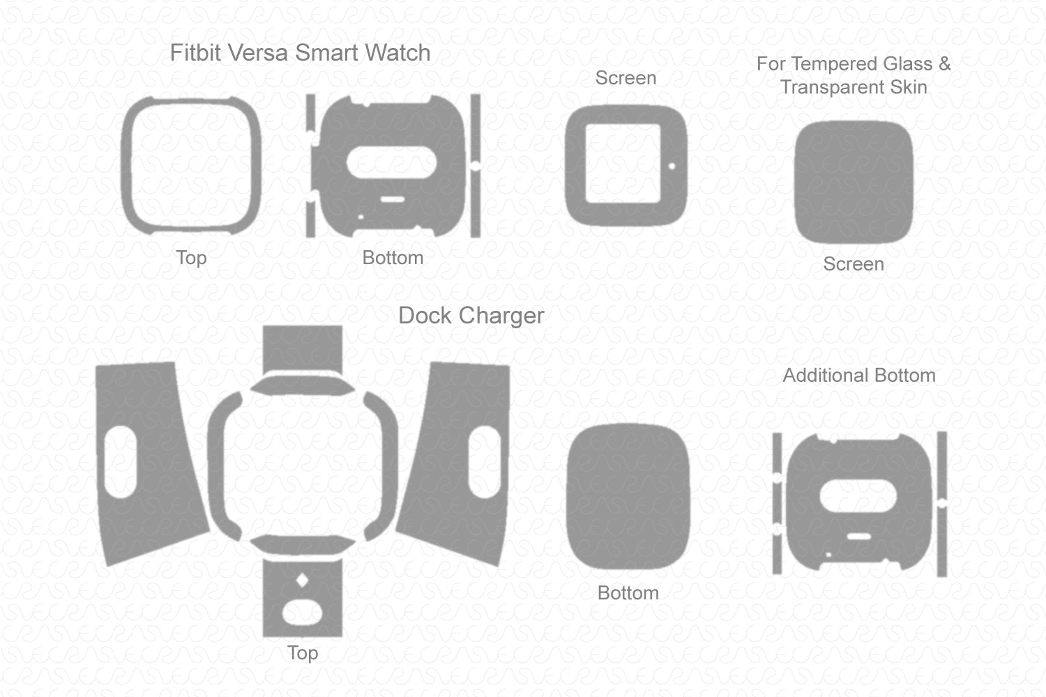 Fitbit Versa Smart Watch 2019 Skin Cutting Template