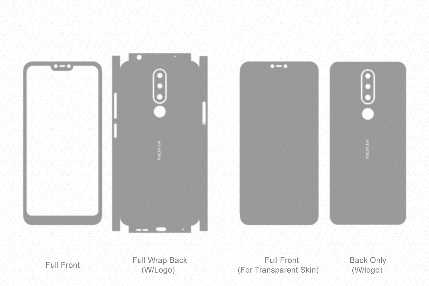 Nokia 6.1 Plus 2018 Skin Template Vector