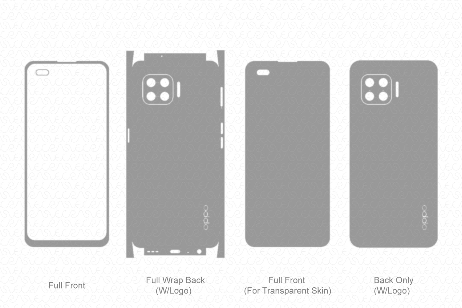 Oppo F17 Pro Skin Template Vector 2020
