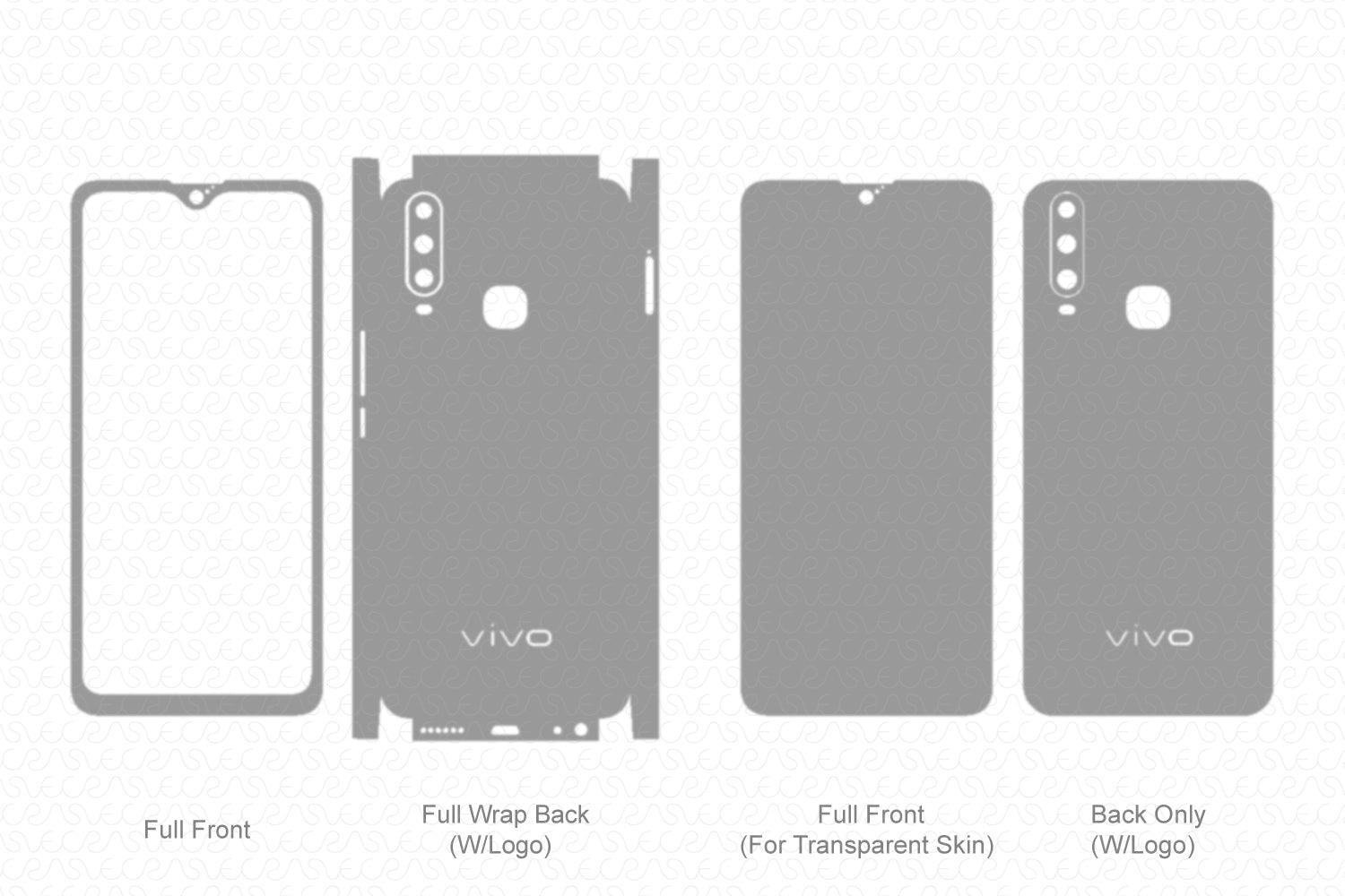 Vivo Y15 (2019) Skin Template Vector