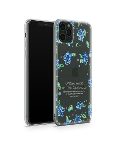 iPhone 11 Pro Max 2019) TPU Clear Case Mockup (Angled)