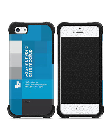 Apple iPhone 5-5s-SE 3d 2-in-1 Hybrid Mobile Case Design Mockup 2012