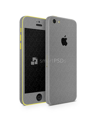 Apple iPhone 5C Vinyl Skin Design Mockup 2013 (Front-Back Angled)