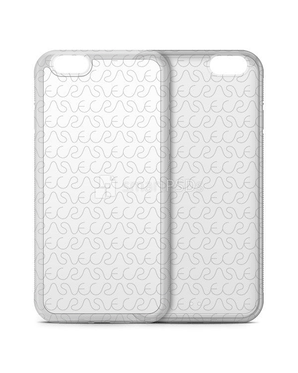 Apple iPhone 6-6s 2d Clear Frosted Rubber Phone Cover Design Template (V2- 3 Views)