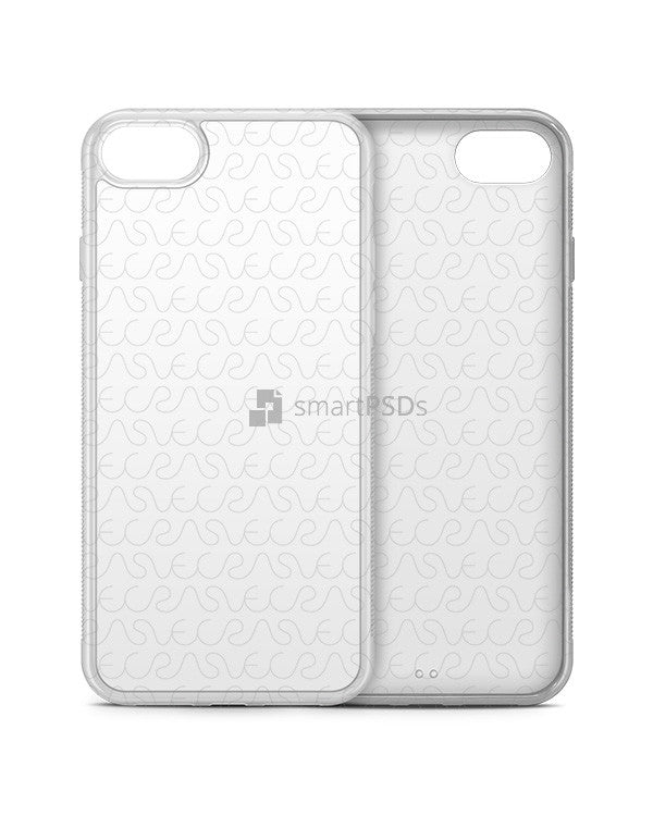 Apple iPhone 7 2d Clear Frosted Rubber Flex Mobile Case Design Mockup 2016 (3 Views)