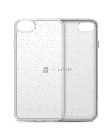 Apple iPhone 7 2d Clear Frosted Rubber Phone Cover Design Template (3 Views)