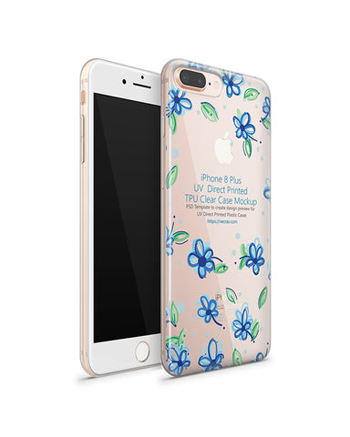 Apple iPhone 8 Plus UV TPU Clear Case Design Mockup 2017 (Front-Back Angled)