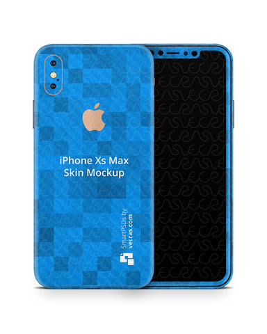 Apple iPhone Xs Max Vinyl Skin Design Mockup (Front-Back)