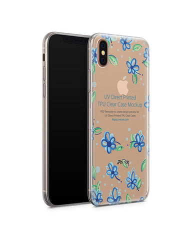 Apple iPhone Xs Max UV TPU Clear Case Mockup 2018 (Angled)