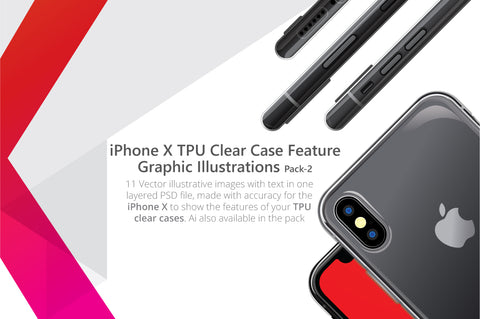 Apple iPhone X TPU Clear Case Feature Illustrations Pack
