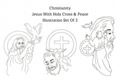 Christianity Jesus With Holy Cross & Peace Illustration Set Of 3