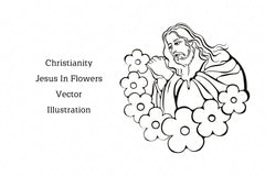 Christianity Jesus In Flowers Vector Illustration