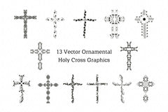 Christianity Holy Cross & Peace Vector Graphic Illustrations Set Of 3