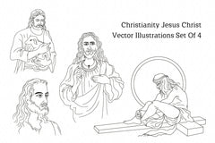 Christianity Jesus Christ Vector Illustrations Set Of 4