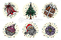 Royalty Free Christmas Celebration - Vector Graphic Linear Style Illustrative Icon Set of 6 Elements