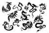 Royalty Free Black Dragons Vector Set